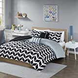 Intelligent Design Nadia Duvet Cover Twin/Twin Xl Size - Black, Chevron Duvet Cover Set – 4 Piece – Ultra Soft Microfiber Light Weight Bed Comforter Covers