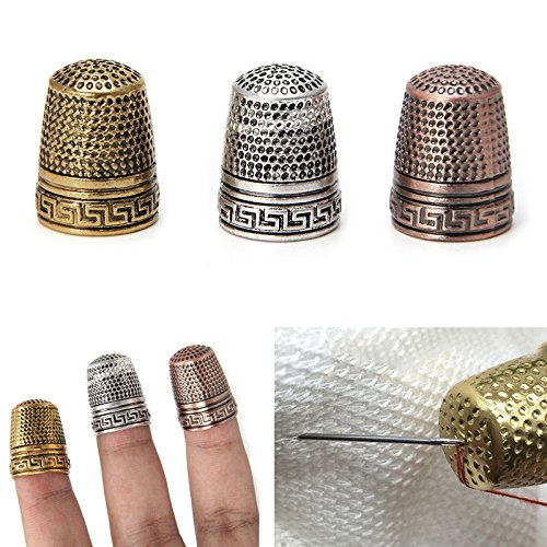 YAMATE Metal Thimble Finger Protector Finger Metal Shield Protector Pin Needles Sewing Quilting Craft Accessories DIY Sewing Tools - Thimble Brass