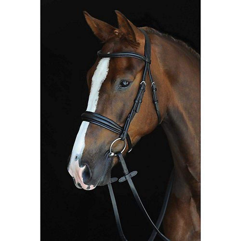 Collegiate Mono Crown Padded Raised Leather Cavesson Bridle (Cob) (Brown) UTWB730_1