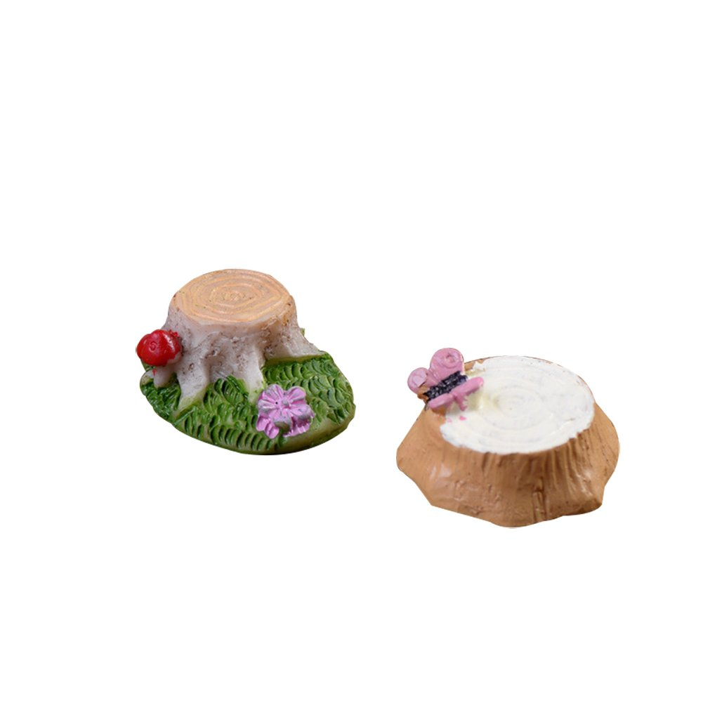Outflower 2pcs Resin Butterfly Stump Mushroom Stump Moss Micro Landscape Succulents Ornaments Doll Ornaments DIY Material
