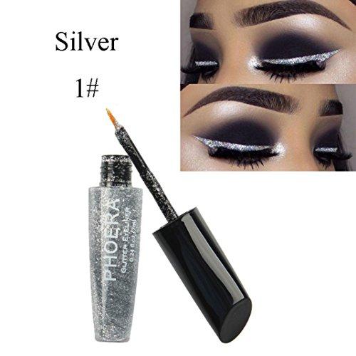 (Clearance! Glitter Liquid Eyeliner, Iuhan Long-lasting Makeup Metallic Shiny Eyes Eyeshadow Waterproof Glitter Liquid Eyeliner (A))