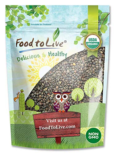 Organic French Green Lentils by Food to Live Whole Dry Beans NonGMO Kosher Raw Sproutable Bulk  1 Pound