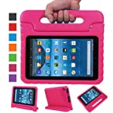 Fire 7 2015 Case,Fire 7 2017 Case,Grand Sky Super Light Weight Shock Proof Handle Protective Stand Kids Case for Fire 7 inch Display Tablet (5th Gen-2015 Release & 7th Gen-2017 Release) (Pink)