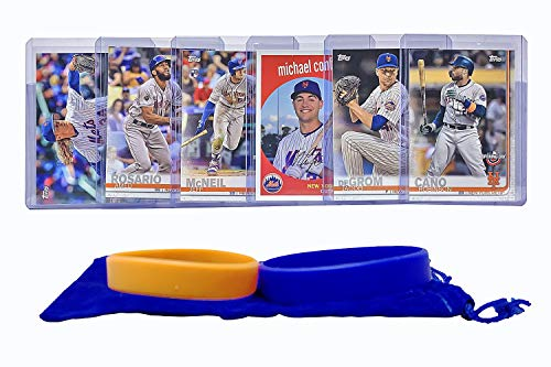 New York Mets Baseball Cards: Noah Syndergaard, Robinson Cano, Amed Rosario, Michael Conforto, Jeff McNeil, Jacob deGrom ASSORTED Trading Card and Wristbands Bundle
