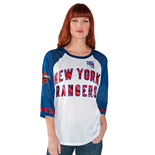 GIII For Her NHL New York Rangers Women's All Star Mesh Top, X-Large, White/Royal