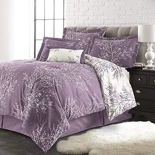 SPIRIT LINEN HOME 6PCFOLCOMF-LWQ 6 Piece Plush Reversible Comforter Set, Queen, Lilac/White (Lilac Comforters)