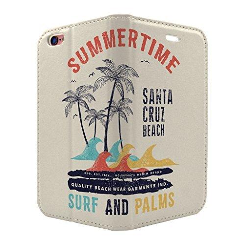 Santa Cruz Surf Retro Schild Full Flip Case Hülle für Apple iPhone 6 - 6S - S473