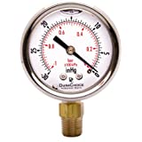 """2"""" Oil Filled Vacuum Pressure Gauge for air compressor water oil gas - Stainless Steel Case, Brass, 1/4"""" NPT, Lower Mount Connection, -30HG/0"""