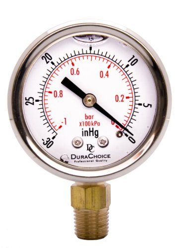 """2"""" Oil Filled Vacuum Pressure Gauge - SS/Br 1/4"""" NPT for sale  Delivered anywhere in USA"""