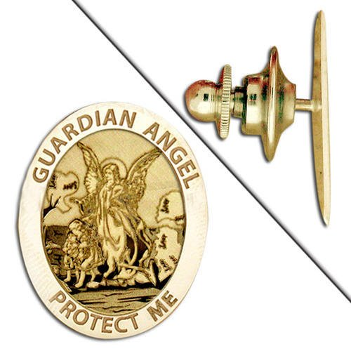 """Guardian Angel """"Protect Me"""" Pin - 2/3 Inch X 3/4 Inch --Solid 14K Yellow Gold"""