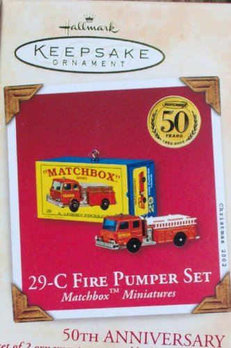 Hallmark Keepsake Ornament - 29-C Fire Pumper set Matchbox Mini 50th Anniversary Ornament dated 2002