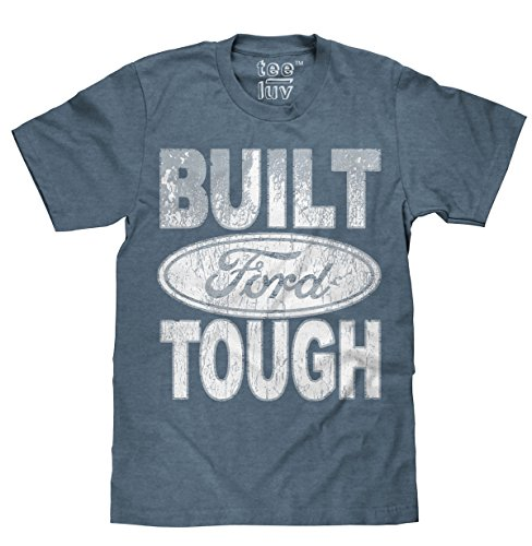 Tee Luv Built Ford Tough Licensed T-Shirt  Poly Cotton Blend  Classic Look - large Heather Blue