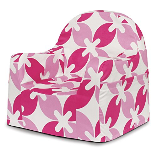 P'Kolino Little Reader Chair, Pink Leaves - High Back Microsuede Chair