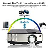 Portable Wireless Bluetooth 1080P Projector - Wifi Mini Projector Pico LED LCD HDMI for Video Games, Movie, Bluetooth Speaker, Laptop, Smartphone, Amazon Fire TV Stick, Home Outdoor Party
