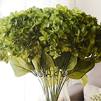Youngman 5 Heads Hydrangea Beautiful Artificial Flower Bunch Bouquet Home Wedding Decor (Green)