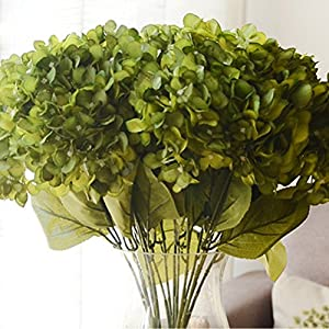 Youngman 5 Heads Hydrangea Beautiful Artificial Flower Bunch Bouquet Home Wedding Decor (Green) 77