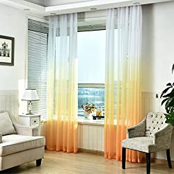 Ikevan 1 Pc Mordern Room Tulle Door Window Screening Curtain Drape Panel Sheer Scarfs Valances 270cm x 100cm, 5 Colors (Yellow)