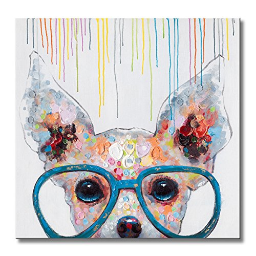 FLY SPRAY 1 Panel Framed 100% Hand Painted Oil Paintings Canvas Wall Art Colorful Dog with Glasses Animal Modern Abstract Artwork Painting for Living Room Bedroom Office Home Decoration ()