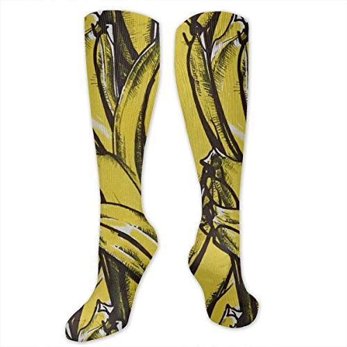 (Medical&Althetic Compression Socks (15-20 MmHg) For Boys, Tropical Fruit Banana Distressed Print Nursing Graduated Long Stockings For Travel/Running )