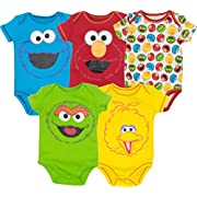 Sesame Street Baby Boy Girl 5 Pack Bodysuits - Elmo, Cookie Monster, Oscar and Big Bird (3-6 Months)