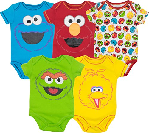 Sesame Street Baby Boy Girl 5 Pack Bodysuits - Elmo, Cookie Monster, Oscar and Big Bird (0-3 Months) -