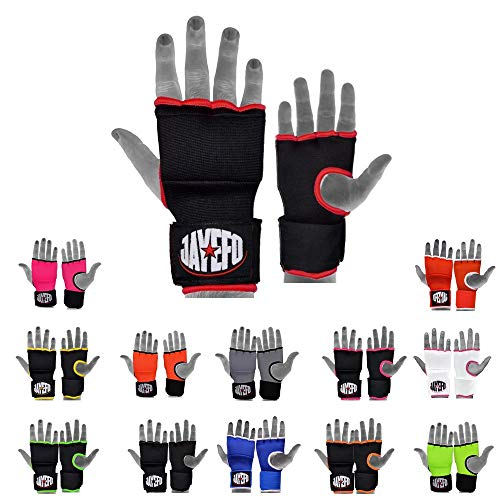 Jayefo Quick Speed Gel Wraps Inner Boxing Hand Wraps Speed Wraps FIST Protection Boxing Gloves MMA Wraps | Pair. (Black/RED, S/M)