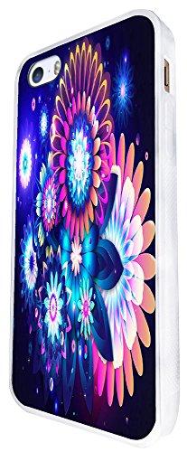 1067 - Cool Fun Flowers Hippie Art Shabby Chic Colourful Design iphone SE - 2016 Coque Fashion Trend Case Coque Protection Cover plastique et métal - Blanc