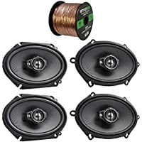 2 Pair Car Speaker Package Of 2x Kenwood KFC-C6895PS 720-Watt 6x8 Inch 3-Way Performance Series Coaxial Speakers + 2x KFC-C5795PS 5x7 Inch 360-Watt Speakers Bundle Combo With Enrock 16G 50 Feet Wire
