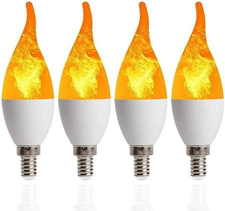 SD&EY 4 Pack LED Llama Efecto de Fuego Simulado Naturaleza ...