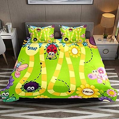 Juego de funda de edredón, juego de cama individual, 3 piezas, divertido juego de mesa de insectos, juego de sábanas con fundas de almohada, decoración de habitación para niños, niñas, adolescentes y