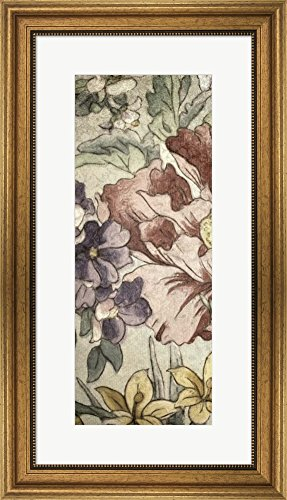 Great Art Now Earthtone Floral Panel II by Catherine Kohnke Framed Art Print Wall Picture, Wide Gold Frame, 16 x 28 - Panel Earthtone Floral