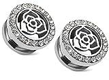 Zaya Body Jewelry PAIR 9/16 14mm Surgical Steel Tunnels Plugs Gauges Gem Celtic Flower Screw