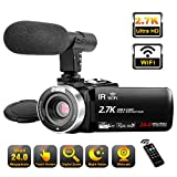 Video Camera Camcorder with Microphone, 2.7K Ultra HD 30FPS 24.0MP WiFi IR Night
