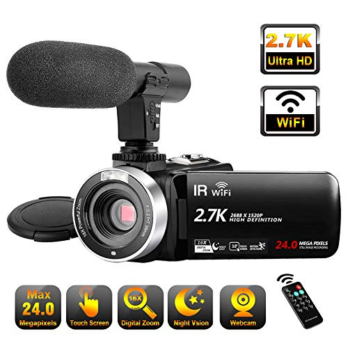 Video Camera Camcorder with Microphone, 2.7K Ultra HD 30FPS 24.0MP WiFi IR Night Vision 16X Digital Zoom YouTube Camera Recorder 3.0