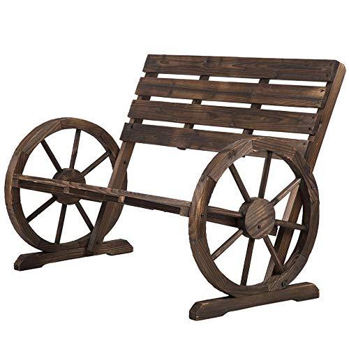 Cartwheels Wagons - Prettyshop4246 Antique Style Country Rustic Bench Cartwheel Shape Wagon Wheel Design Garden Decor Home Backyard 41