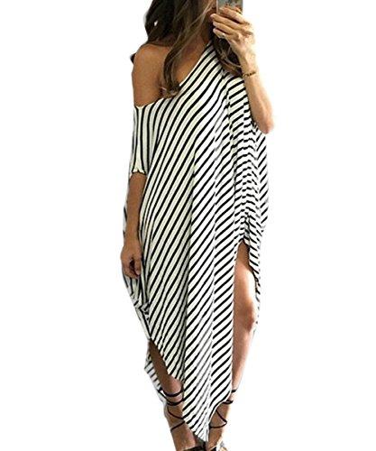 Vimans Long White Asymmetrical Clubwear Dress Irregular Gown Club Dress, (Clubwear Gown)