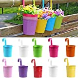SQingYu Colorful Vertical Hook Flower pots Tin Pot, Balcony Garden Planter Vase Bucket Metal Iron pots Hang Bucket Home Decor (10Pcs)