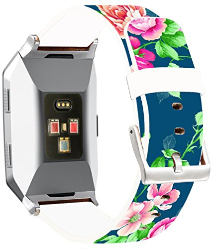 Bands Replacement for Fitbit Ionic - ENDIY Compatible Leather Strap for Fitbit Ionic Small & Large Silver Women Men - Colorful Beautiful Green Girly Flower Floral Art