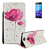 Funyye Sony Xperia XA2 Plus Case [with Free Screen Protector],Stylish [Lanyard Strap] Magnetic Flip Soft Silicone PU Wallet Leather Case with Credit Card Holder Slots Stand Function Case for Sony Xperia XA2 Plus,Pink Flower
