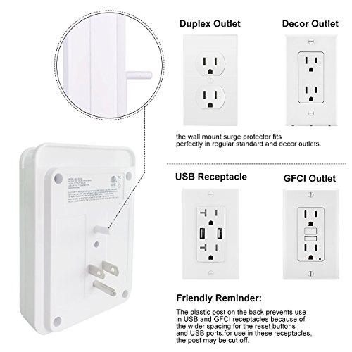 Surge Protector, POWRUI USB Wall Charger with 2 USB charging ports(smart 2.4A Total), 6-Outlet Extender and Top Phone Holder for iPhone iPad and more, White, ETL Certified by POWRUI (Image #5)