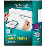 Avery® LSK8 Index Maker® Clear Label Dividers with White Tabs for Laser and Ink Jet Printers, 3 hole punched, 5 set of 8 tabs