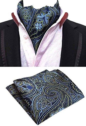 MOHSLEE Men's Navy Blue Paisley Cravat Woven Silk Scarf Ascot Neckties Pocket Square Set -
