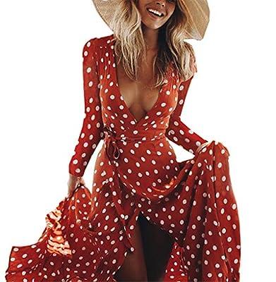 BTFBM Women Polka Dot V-Neck Sleeves Vintage Boho Split Maxi Dress Belt Flowy Vacation Party Long Dresses