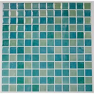 "RoomMates Blue Mosaic Peel and Stick Tile Backsplash, 4-pack 10.5"" X 10.5"""