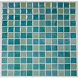 "RoomMates TIL3226FLT Blue Mosaic Peel and Stick Tile Backsplash, 4-Pack 10.5"" X 10.5"", 10.5x10.5"