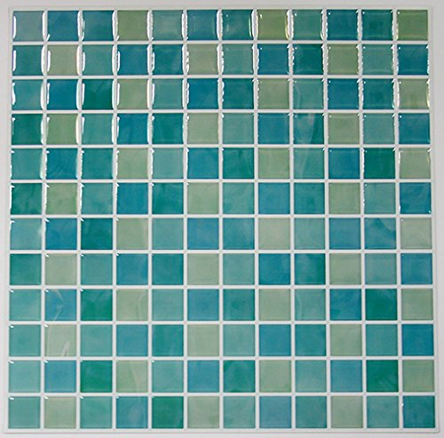 RoomMates StickTILES Blue Mosaic Peel and Stick Backsplash Tiles - 4 Per Pack