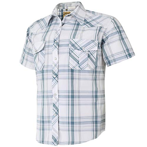 Coevals Club Men's Short Sleeve Casual Western Plaid Snap Buttons Shirt (3XL, 28# White Plaid)