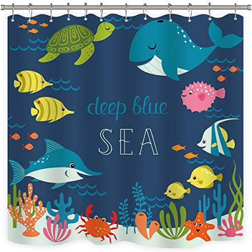 Riyidecor Cartoon Underwater Sea Animal Shower Curtain Fish Metal Hooks 12 Pack Deep Ocean Starfish Sea Turtle Blue Kids Decor Fabric Panel Set 72x72 Inch Bathroom (Clear Curtain Shower Fish)