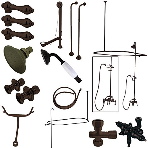 Downspout Shower Package - Kingston Brass CCK3145AL Vintage Wall Mount Down Spout Claw Foot Tub and Shower Package, 3-3/8-Inch, Oil Rubbed Bronze