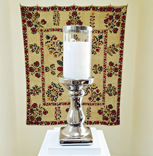 "The Spring Street Candle Holder Set, Silver Pedestal Base with Silver Rimmed Glass Sleeve, 12 ¼"" High By Whole House Worlds"